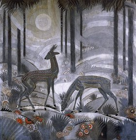 Jean Dunand: Zwei Rehe im Wald