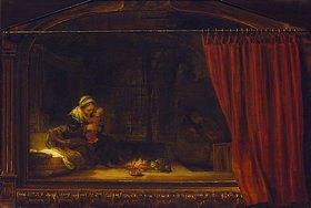 Rembrandt van Rijn: Die heilige Familie mit einem gemalten Rahmen und Vorhang (sog. Holzhackerfamilie). 1646