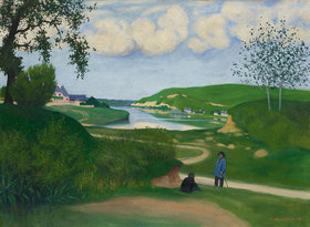 Felix Vallotton: Landschaft mit Fluss und zwei Figuren