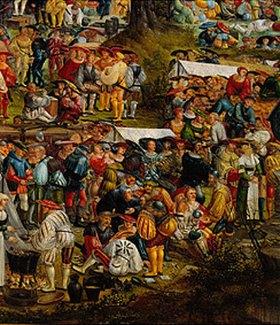 Melchior Feselen: Geschichte der Cloelia. 1529. Detail aus der li.Bildhälfte: Volk, Kartenspieler