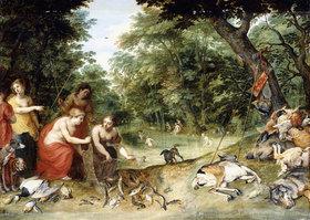 Jan Brueghel d.Ä.: Allegorie der Elemente: Erde, Luft und Wasser. Badende Nymphen in einer Waldlichtung mit ihrer Beute