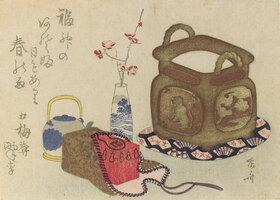 Shinsai Ryuryukyo: Stillleben mit Requisiten für die Teezubereitung