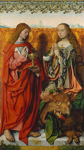 Meister d.Bartholomäus-Altars: Linke Tafel innen: Die hll.Johannes Ev. und Margaretha