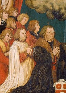 Hans Holbein d.Ä.: Votivbild des Ulrich Schwarz und seiner Familie. Detail: Ulrich und Söhne
