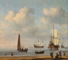 Willem van de Velde d.J.: Vor Anker liegende Fleuten und Fischerboote bei Windstille