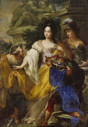 Antonio Bellucci: Minerva, Merkur und Plutus huldigen der Kurfürstin Anna Maria Luisa de' Medici