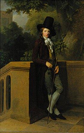 Friedrich August Tischbein: Bildnis eines Herrn (Chatelein?) im Garten
