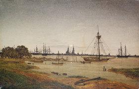 Caspar David Friedrich: Hafen bei Mondschein