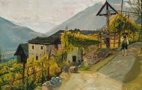 Rudolf Friedrich Wasmann: Meraner Weingut im Herbst