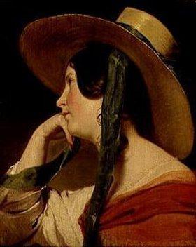 Friedrich von Amerling: Junges Mädchen mit Strohhut. Gegen