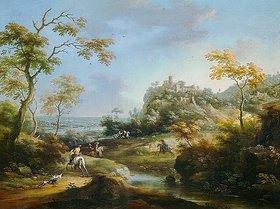 Carl Borromaus Andreas Ruthart: Landschaft mit Hirschjagd