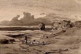 Arnold Böcklin: Entwurf zum Gemälde Landschaft bei Sonnenuntergang
