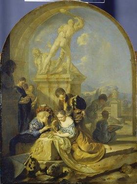 Adriaen van der Werff: Spielende Kinder vor einer Herkulesgruppe
