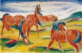 Franz Marc: Weidende Pferde III
