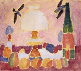Alexej von Jawlensky: Petroleumlampe und Flasche vor Schwalbentapete