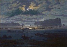 Caspar David Friedrich: Mondnacht über nordischer Meerlandschaft
