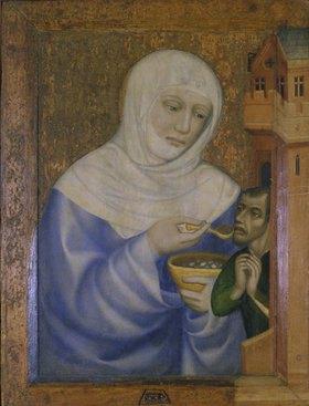 Meister Theodorus: Die hl. Elisabeth speist einen Kranken