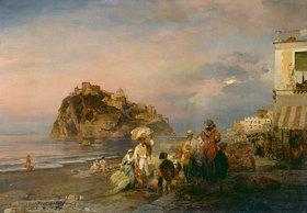 Oswald Achenbach: Abendlicher Strand bei Ischia