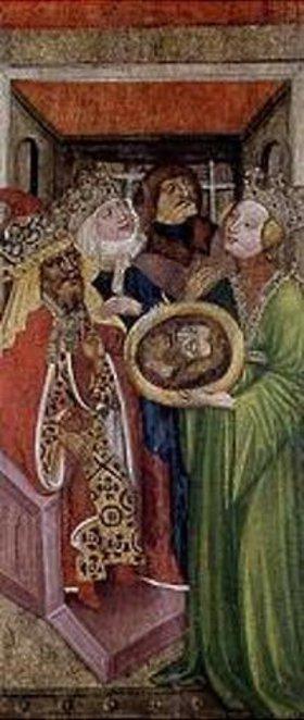 Tschechischer Meister: Rechte untere Tafel eines Flügelaltars. Salomé mit dem Kopf Johannes des