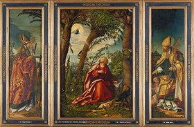 Hans Burgkmair d.Ä.: Johannes-Altar. Der hl.Erasmus, Johannes auf Patmos, der hl.Martin und d.Bettler