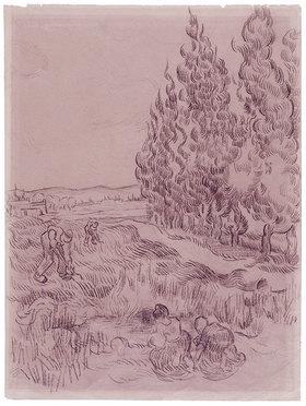 Vincent van Gogh: Paysage avec cyprès. Landschaft mit Zypressen und vier Landarbeitern