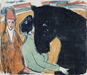 Ernst Ludwig Kirchner: Rappenhengst, Reiterin und Clown