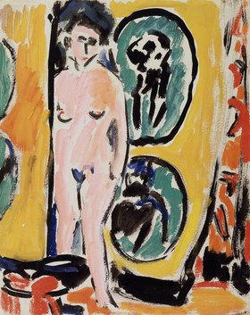 Ernst Ludwig Kirchner: Nacktes Mädchen vor gemustertem Vorhang