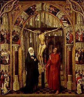 Rogier van der Weyden: Der Gekreuzigte in einem Kirchenportal, umgeben von Szenen aus dem Leben Jesu