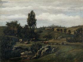 Hans Thoma: Landschaft mit Herde