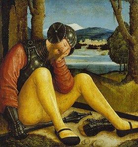 Bernhard Strigel: Schlafender Grabwächter mit Streitkolben und Schwert. 1520er Jahre