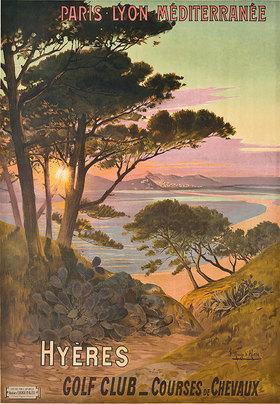 Frederic Hugo d'Alesi: Hyeres, France. Color Lithographi 107 x 78cm