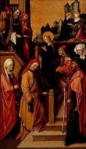 Hans Holbein d.Ä.: Tempelgang Mariae. Weingartner Altar im Dom zu Augsburg