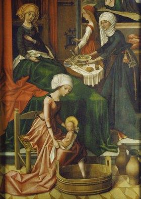 Hans Holbein d.Ä.: Geburt Mariae. Weingartner Altar im Dom zu Augsburg. Detail: das erste Bad