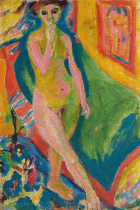 Ernst Ludwig Kirchner: Nacktes Mädchen vor grünem Sofa