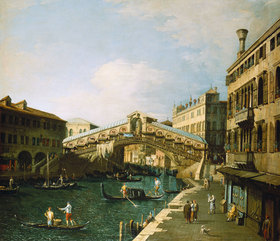 Canaletto (Giov.Antonio Canal): Der Canal Grande in Venedig mit der Rialto Brücke