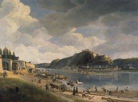 Johann Adolf Lasinsky: Blick auf das Rheinufer mit Ehrenbreitstein