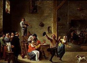 David Teniers: Wirtsstube mit tanzendem Paar