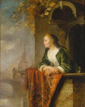 Gerrit (Gerard) Dou: Junge Frau auf einem Balkon