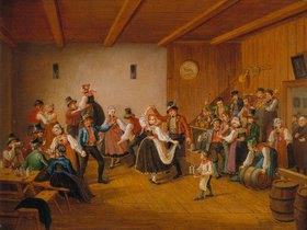 Lorenzo Quaglio d.J.: Tanz in einem Dachauer Dorfgasthaus