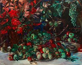 Lovis Corinth: Grünes Stillleben mit Früchten und Gladiolen