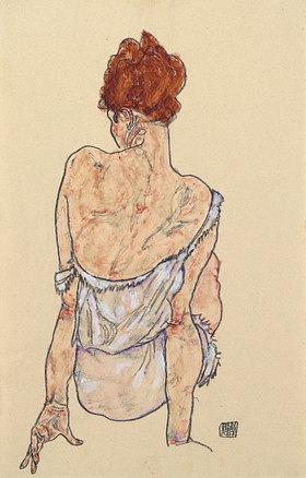Egon Schiele: Sitzende in Unterwäsche, Rückenansicht