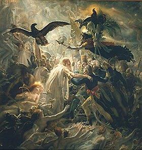 Anne Louis Girodet de Roussy-Trioson: Die toten Helden Frankreichs werden von Viktoria in Odins Palast geleitet