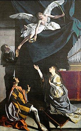 Orazio Gentileschi: Ausschnitt aus Engel mit den hll. Märtyrern Valerian, Tiburtius und Cäcilia