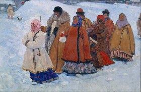 Sergej Iwanow: Russische Familie beim winterlichen Kirchgang
