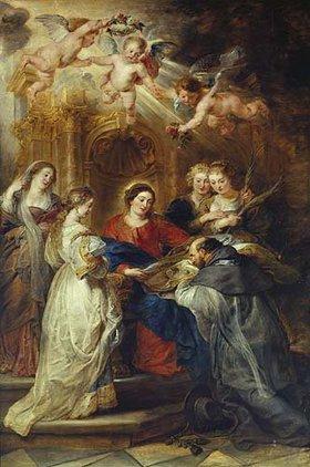 Peter Paul Rubens: Ildefonso-Altar, Mitteltafel: Maria erscheint dem hl. Ildefonso