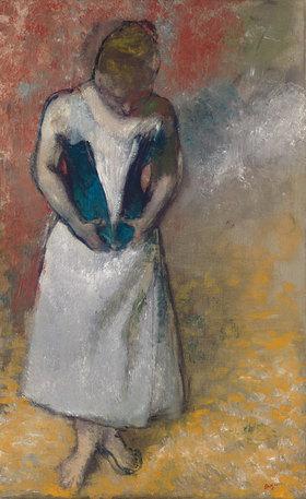 Edgar Degas: Stehende Frau von vorne, ihr Korsett schließend