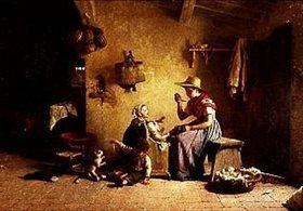 Gaetano Chierici: Beim Füttern des Babies