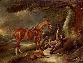 John E Ferneley d.J.: Der Parkhüter Allin Hill mit Hunden und Jagdpferd