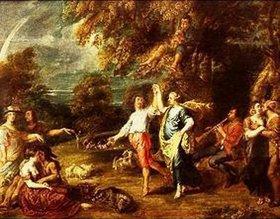Jan Thomas (van Ypern): Elegante Gesellschaft beim Tanz in einer Waldlandschaft