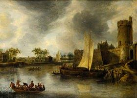 Jan Beerstraten: Landeplatz am Fluß Singel in Utrecht mit dem Plompetor